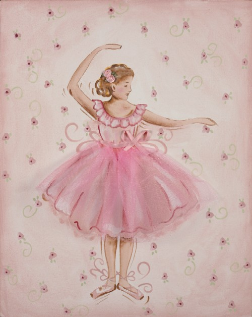 Tutu Ballerina Canvas Wall Art-canvas, wall, hanging, decor, art, painted, hand