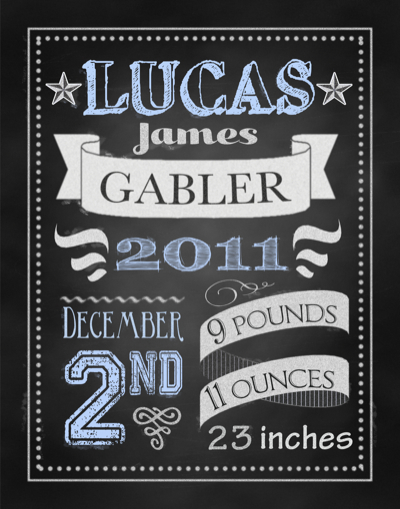 boy chalkboard birth announcement-