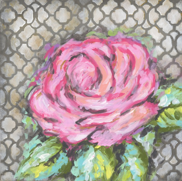 RM205 pink rose on gray abstract canvas-