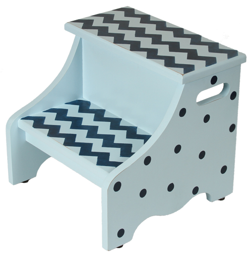 blue chevron step stool SS839-blue chevron step stool