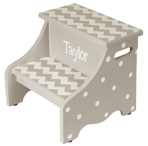 gray chevron step stool SS837-gray chevron step stool