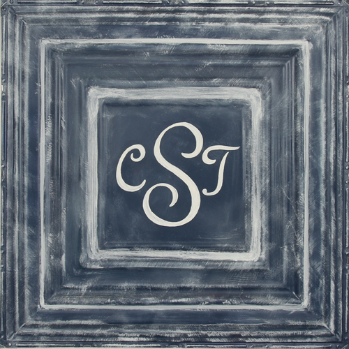 square metal wall plaque MT02- navy-