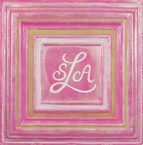 square metal wall plaque MT02- bright pink-