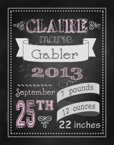 girl chalkboard birth announcement wall decor-
