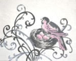 elegant nest with bright pink  CP225-