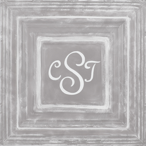 square metal wall plaque MT02- gray-