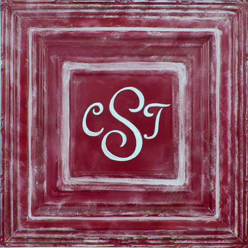 square metal wall plaque MT02- red-